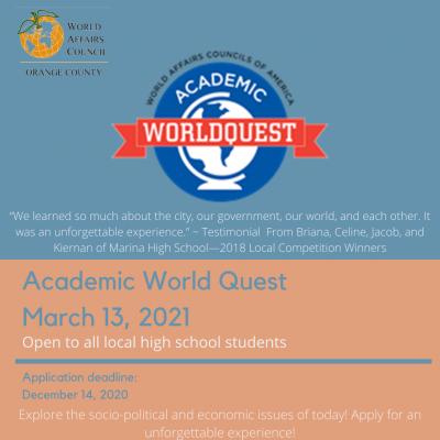Academic WorldQuest March 13, 2021
